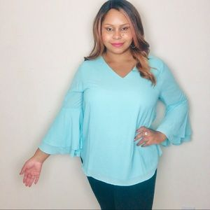 1X Mint Turquoise Green Bell Long Sleeve Blouse